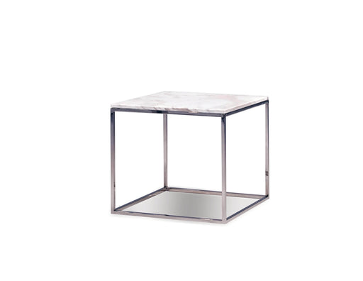 Mobital Kube Square End Table in White Volakas Marble with Polished Stainless Steel