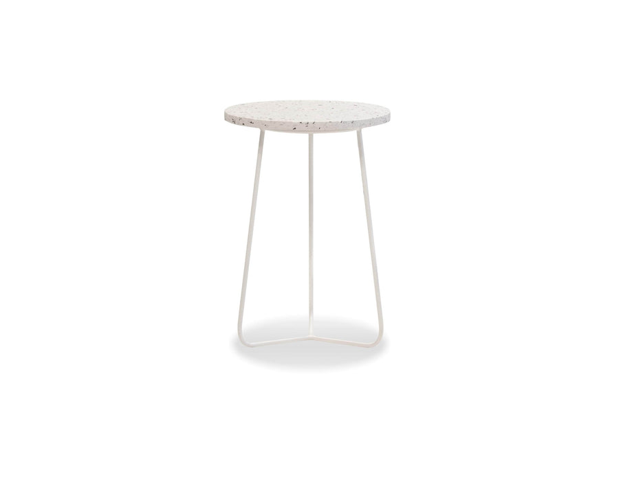 Mobital End Table White / Tall Rizzo End Table White Terrazo Marble With White Base - Available in 3 Sizes