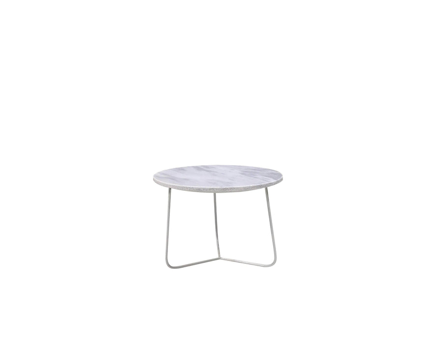 "Mobital Tripoli 14"" Round Small End Table with White Marble Top and White Powder Coated Base"