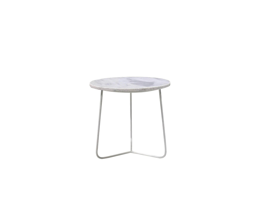 "Mobital Tripoli 17"" Round Medium End Table with White Marble Top and White Powder Coated Base"