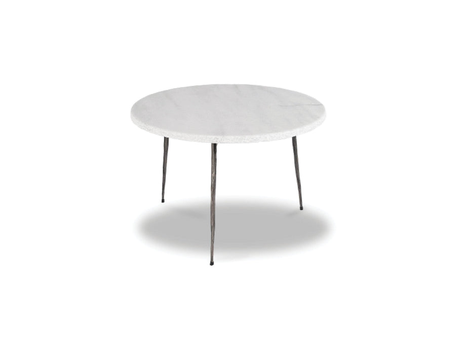 "Mobital End Table White Volakas Marble Kaii 13"" Low End Table With Distressed Forged Black Iron Legs - Available in 3 Colours"
