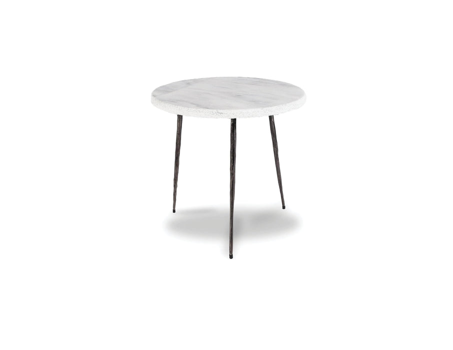 "Mobital End Table White Volakas Marble Kaii 16"" Medium End Table With Distressed Forged Black Iron Legs - Available in 3 Colours"