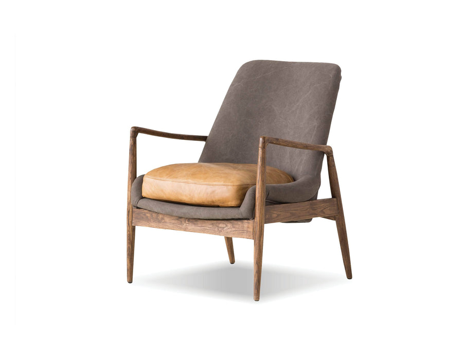 Mobital Lounge Chair Ash Grey Fabric And Tan Vintage Distressed Leather Reynolds Lounge Chair With Black Matte Frame - Available in 2 Colours