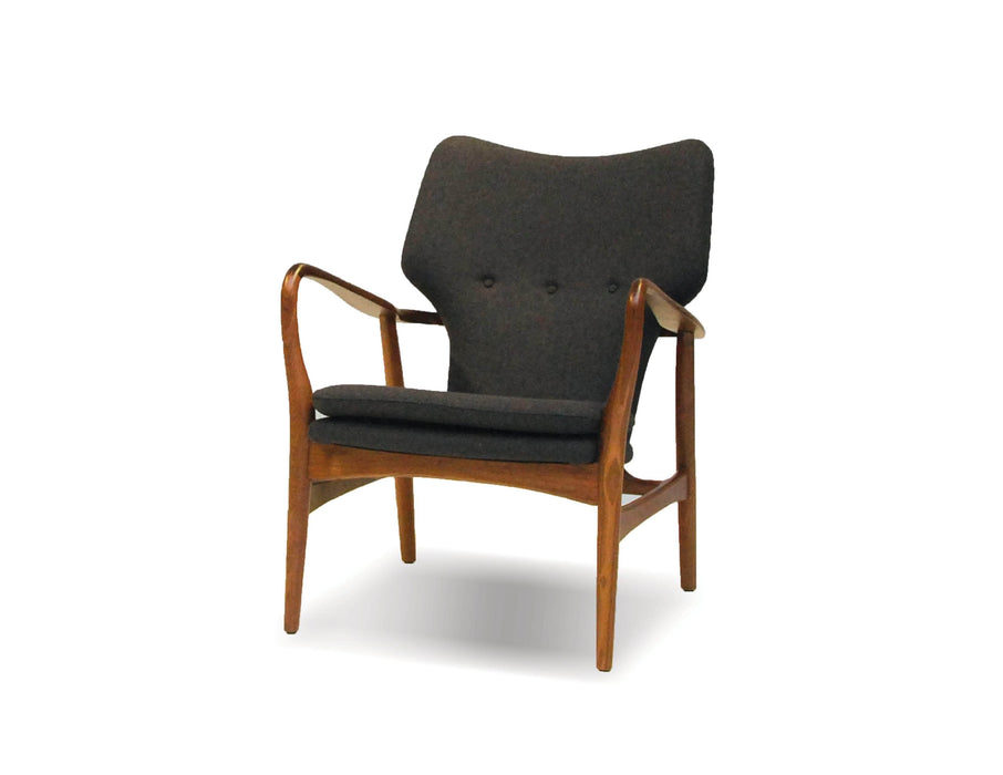 Mobital Ingrid Lounge Chair in Grey Fabric with Walnut Wood