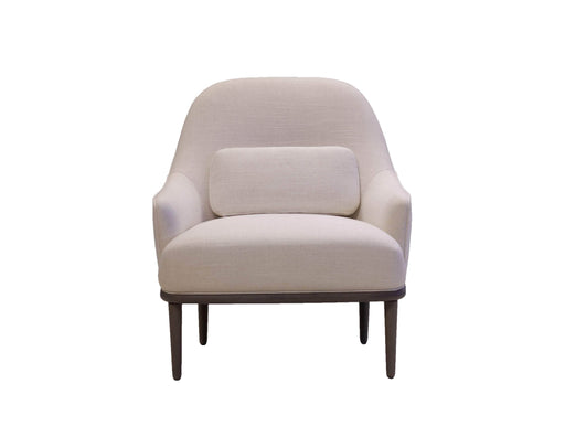 Mobital Crawford Low Back Lounge Chair in Off White Fabric with Grey Legs