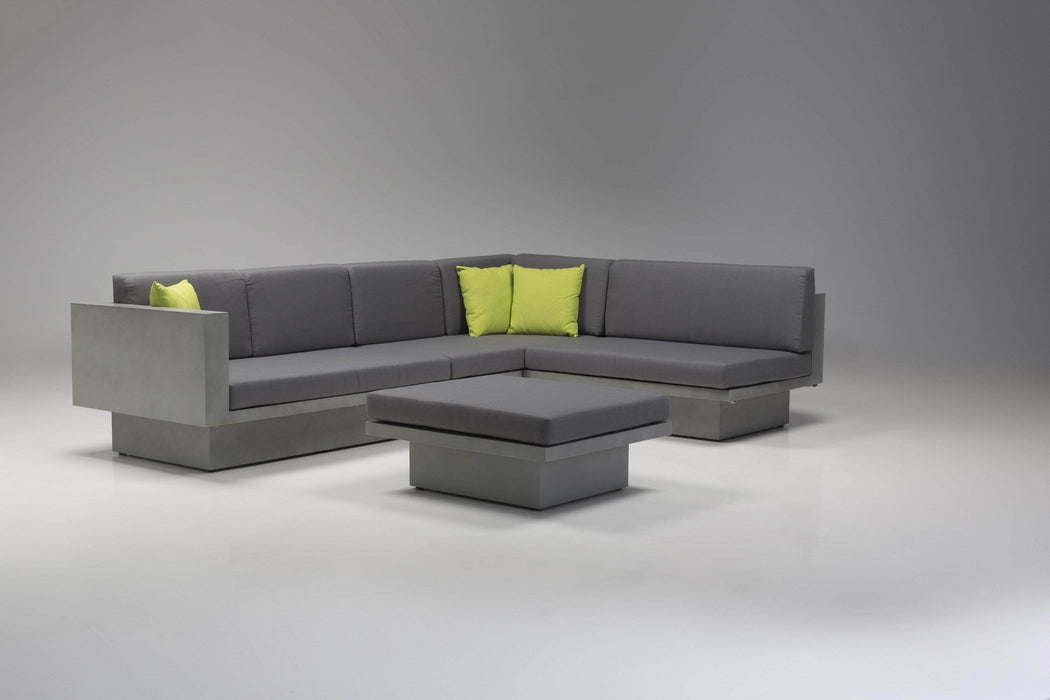 Mobital Sancho Sectional Sofa in Grey Fabric with Epoxy Concrete Texture
