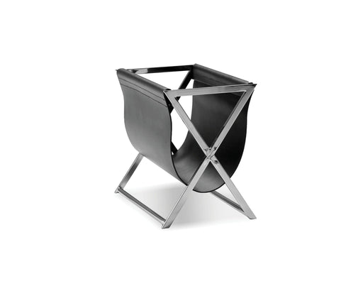 Mobital Mag Magazine Rack with Black Leather Sling and Polished Stainless Steel