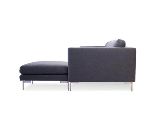 Mobital Sectional Dark Grey Taut Sectional Dark Grey Tweed Fabric With Brushed Stainless Steel Legs
