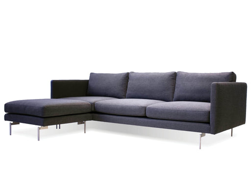 Mobital Taut Sectional Sofa in Dark Grey Tweed Fabric with Brushed Stainless Steel Legs