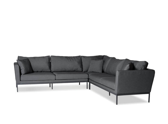 Mobital Mobital Huntington Outdoor Patio 3-Piece Sectional Sofa in Sunbrella Carbon Grey Fabric with Grey Frame