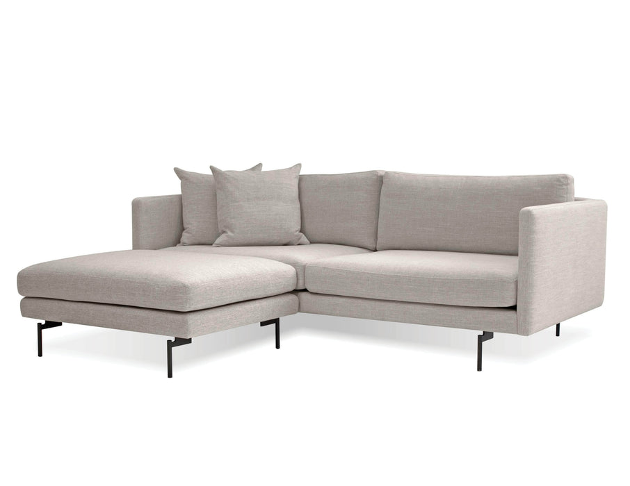 Mobital Tux Sectional Sofa in Light Grey Fabric with Black Power Coated Steel