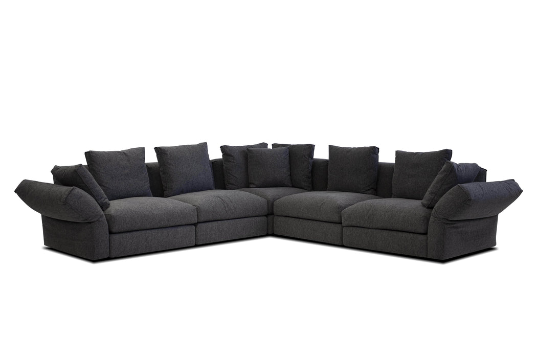 Mobital Flex Modular Corner Sectional Sofa in Peppercorn Chenille Fabric