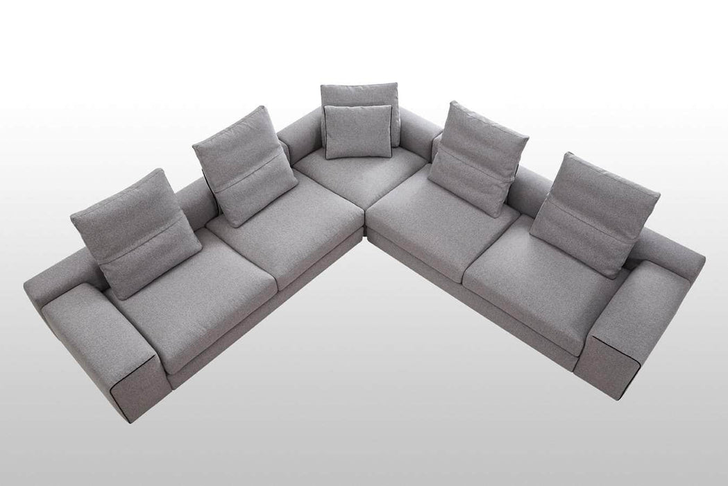 Mobital Sectional Smoke Tweed Flipout Sectional Smoke Tweed With Black Piping