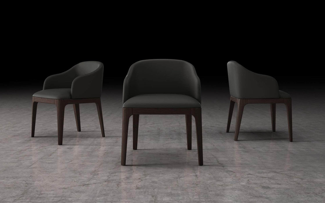 Pending - Modloft Dining Chairs Graphite Eco Leather Wooster Dining Arm Chair - Available in 2 Colours