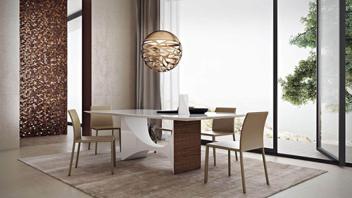 Pending - Modloft Dining Tables Camden Dining Table in White Glass and Walnut