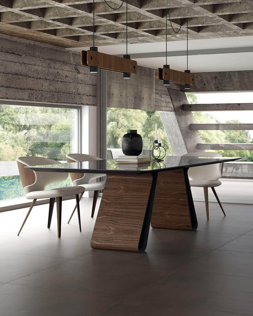 Pending - Modloft Dining Tables Wembley Dining Table in Graphite Glass and Walnut