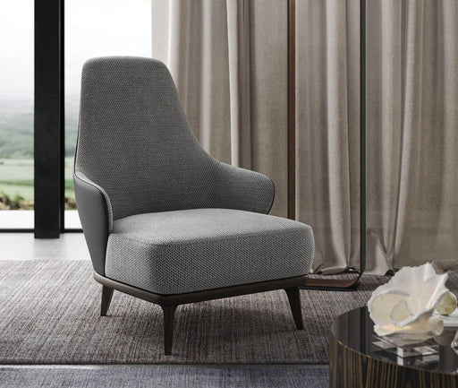 Pending - Modloft Lounge Chairs Dyer Lounge Chair in Mixed Marble Fabric and Gunmetal Leather