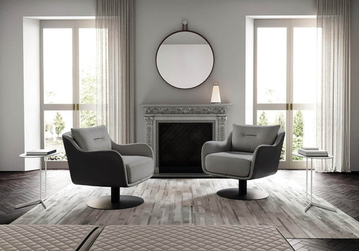 Pending - Modloft Lounge Chairs Platt Lounge Chair in Warm Gray and Graphite Leathers