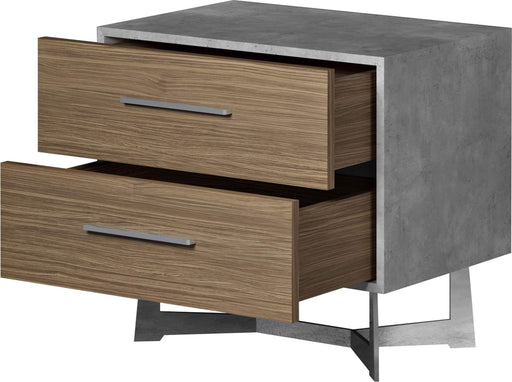 Pending - Modloft Nightstands Broome Nightstand in Weathered Concrete on Latte Walnut