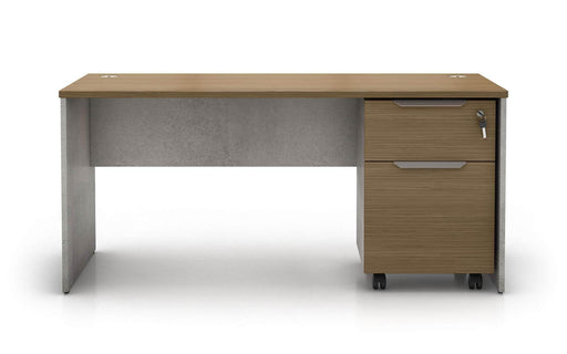 Pending - Modloft Office Broome Desk Set in Weathered Concrete on Latte Walnut
