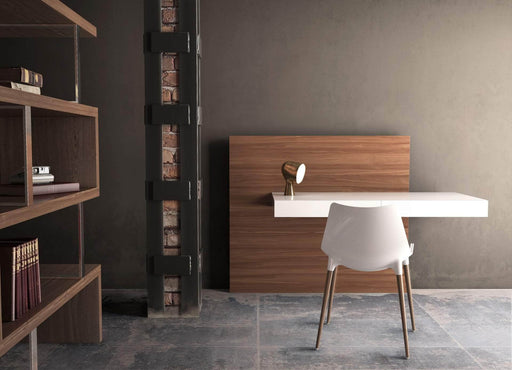 Pending - Modloft Office Walker Desk in Glossy White and Walnut