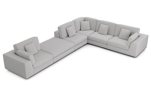 Pending - Modloft Sectionals Gris Fabric Perry Sectional 2 Arm Corner Extended Sofa - Available in 2 Colours