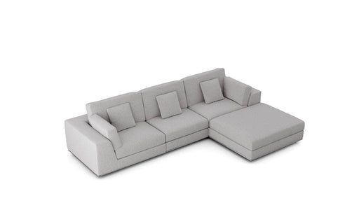Pending - Modloft Sectionals Gris Fabric Perry Sectional 3 Seat Sofa with Ottoman - Available in 2 Colours