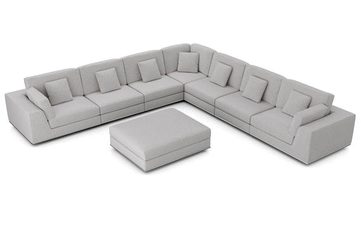Pending - Modloft Sectionals Gris Fabric Perry Sectional Large 2 Arm Corner Sofa with Ottoman - Available in 2 Colours
