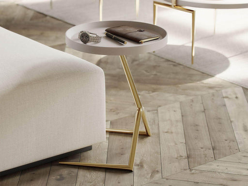 Pending - Modloft Side Tables Shubert Side Table in Chateau Gray and Gold