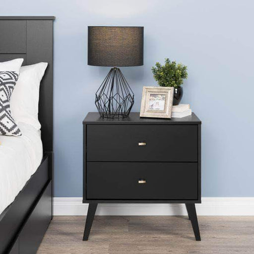 Pending - Modubox Black Milo Mid Century Modern 2-drawer Nightstand - Multiple Colours Available
