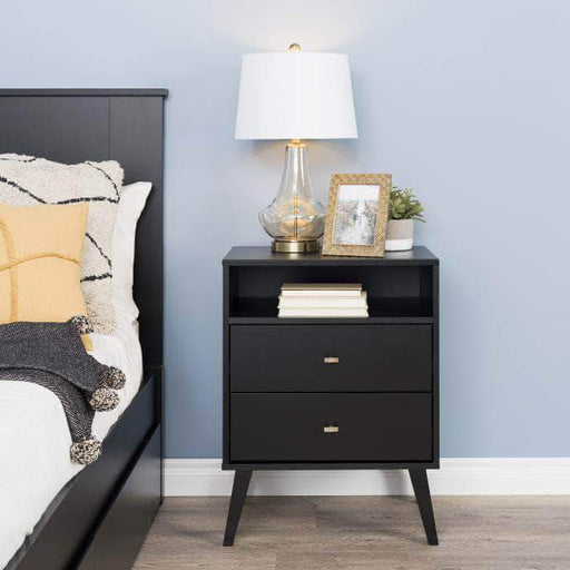 Pending - Modubox Black Milo Mid Century Modern 2-drawer Tall Nightstand with Open Shelf - Multiple Colours Available