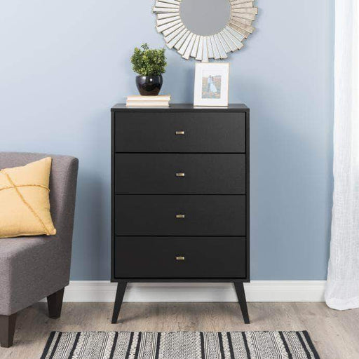 Pending - Modubox Black Milo Mid Century Modern 4-drawer Chest - Multiple Colours Available
