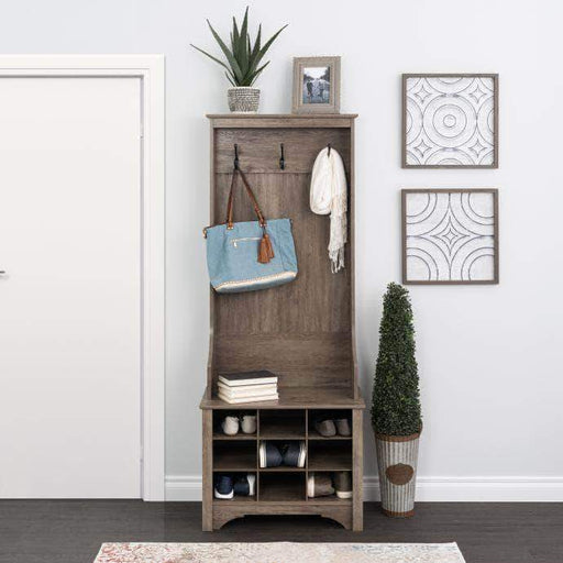 Pending - Modubox Drifted Gray Narrow Hall Tree with 9 Shoe Cubbies