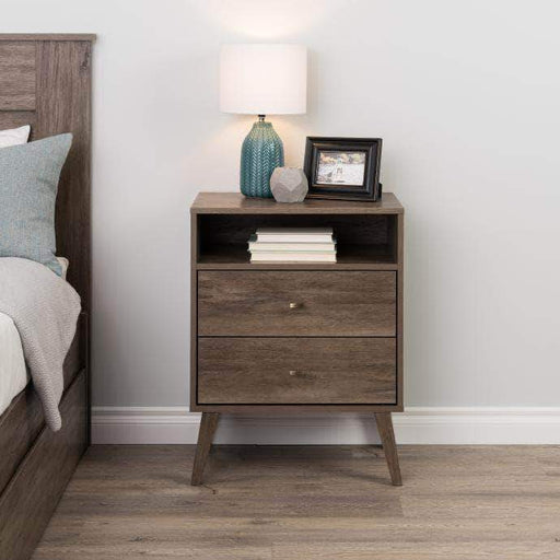 Pending - Modubox Drifted Grey Milo Mid Century Modern 2-drawer Tall Nightstand with Open Shelf - Multiple Colours Available