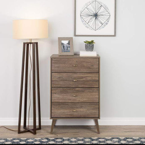 Pending - Modubox Drifted Grey Milo Mid Century Modern 4-drawer Chest - Multiple Colours Available