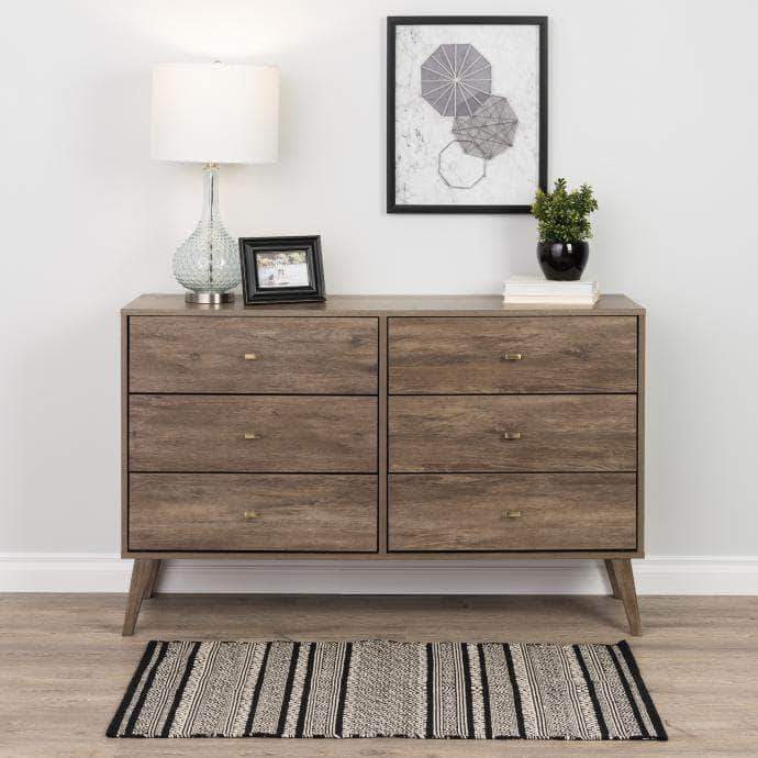 Pending - Modubox Drifted Grey Milo Mid Century Modern 6-drawer Dresser - Multiple Colours Available