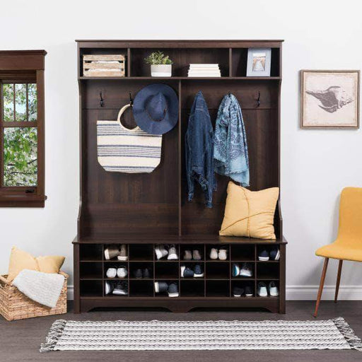 "Pending - Modubox Espresso 60"" Wide Hall Tree with 24 Shoe Cubbies"