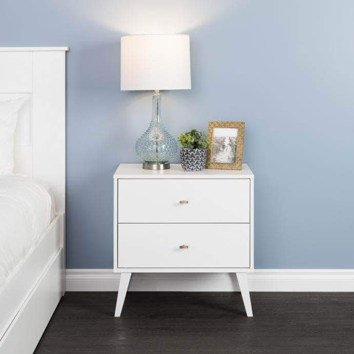 Pending - Modubox White Milo Mid Century Modern 2-drawer Nightstand - Multiple Colours Available