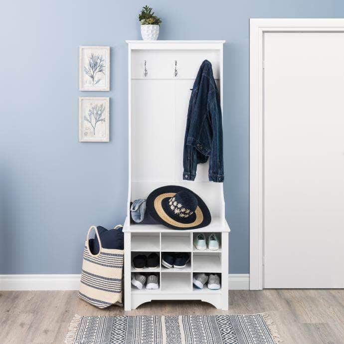 Pending - Modubox White Narrow Hall Tree with 9 Shoe Cubbies