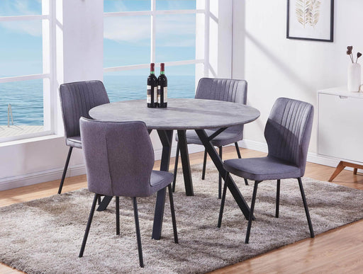 Pending - Primo International Marble Top Dining Table with 4 Grey Upholstered Chairs