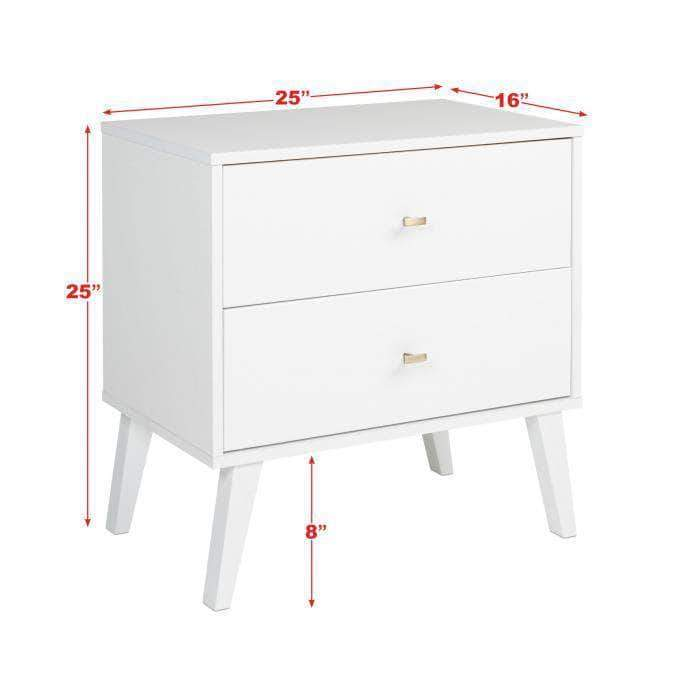 Pending - Review Milo Mid Century Modern 2-drawer Nightstand - Multiple Colours Available