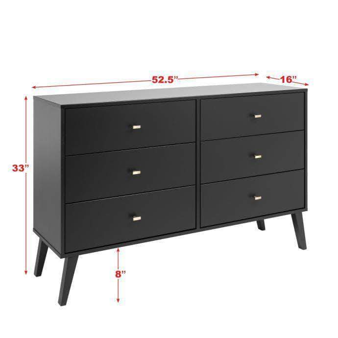 Pending - Review Milo Mid Century Modern 6-drawer Dresser - Multiple Colours Available
