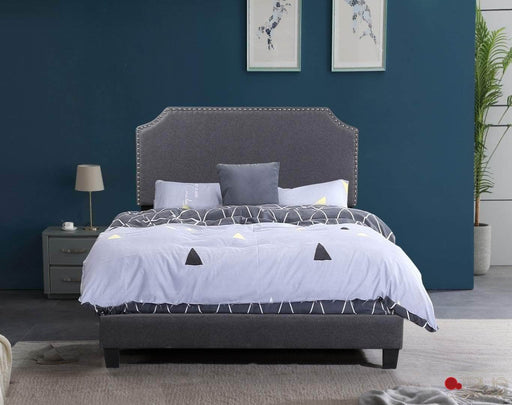 Markle Dark Grey Linen Platform Bed with Nailhead Trim