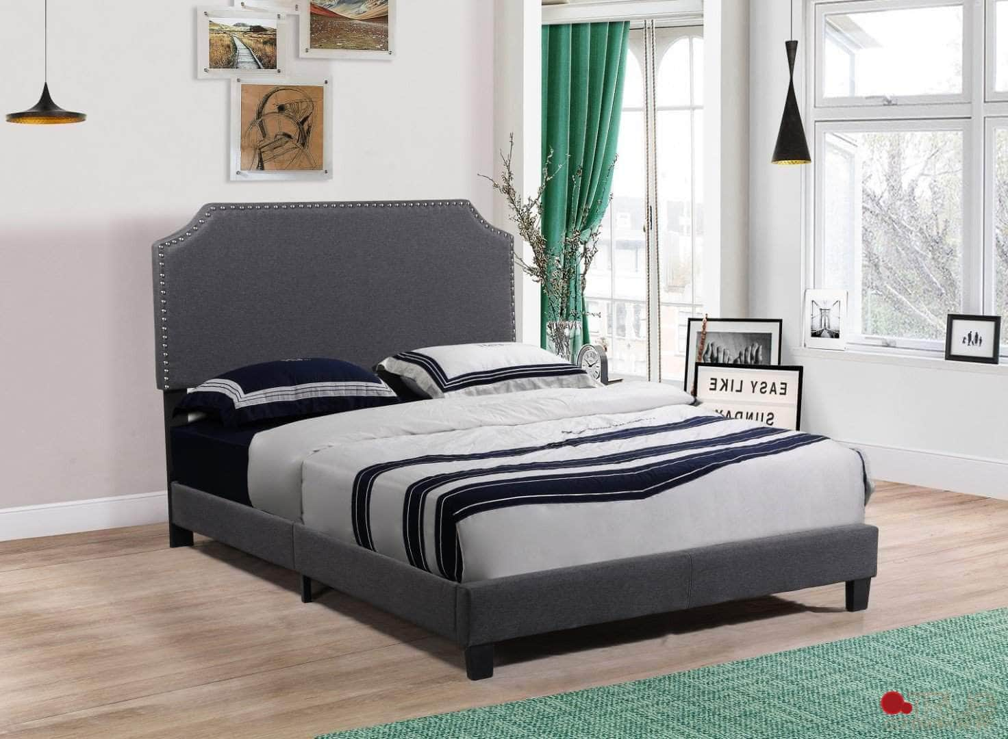 Markle Dark Grey Linen Platform Bed with Nailhead Trim Side
