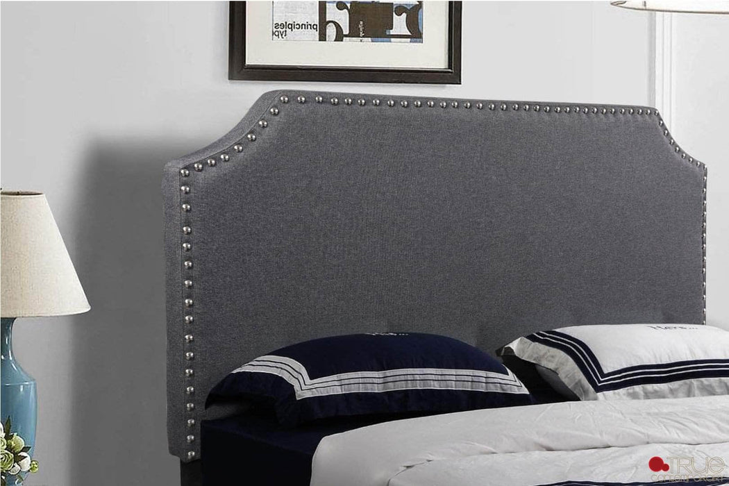 Markle Dark Grey Linen Platform Bed with Nailhead Trim Headboard