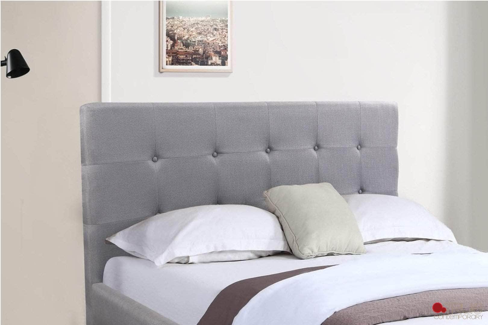 Victoria Grey Tufted Linen Platform Bed with Two Storage Drawers Headboard