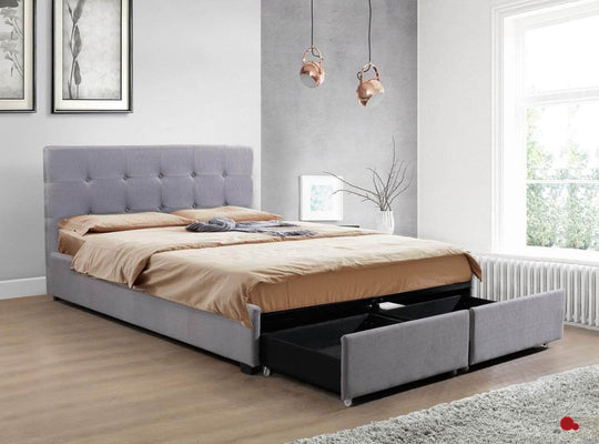 Victoria Grey Tufted Linen Platform Bed with Two Storage Drawers Side