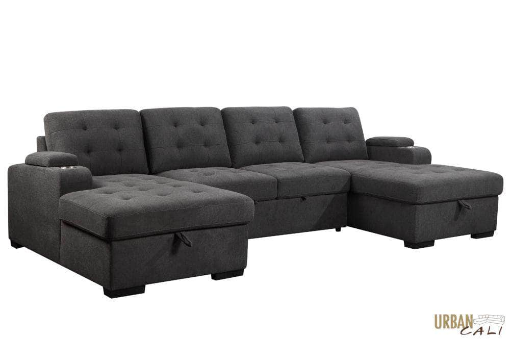 Pending - Urban Cali Lancaster U-Shaped Sleeper Sectional Sofa Bed with Storage Chaises