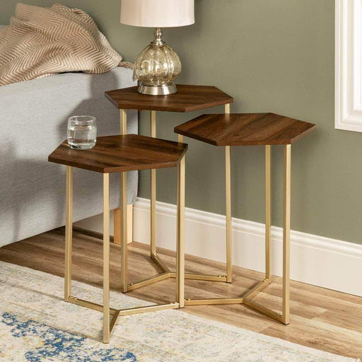 Pending - Walker Edison Dark Walnut/Gold Hex Nesting Tables - Available in 2 Colours