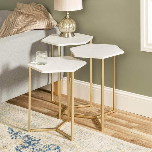 Pending - Walker Edison Faux White Marble/Gold Hex Nesting Tables - Available in 2 Colours